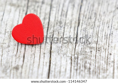 red heart on wooden background, Valentines Day background
