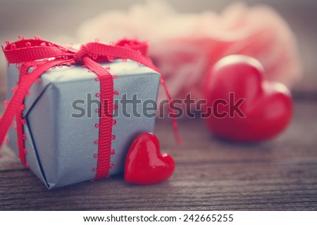 red heart on wooden board for valentines day stock photo