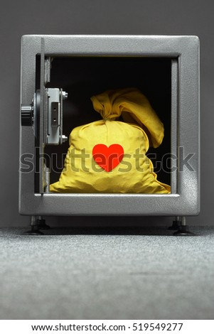 RED Heart on Yellow sack in safe #519549277