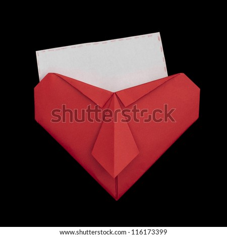 Red heart paper made. Isolated heart and note