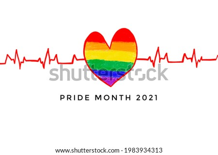 Red heart pulse line drawing and rainbow heart with texts 'Pride Month 2021', concept for lgbt communities celebrations in pride month, June, around the world. Stockfoto ©