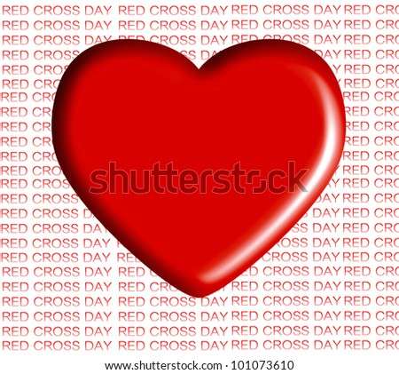 red heart ,Red Cross day - stock photo