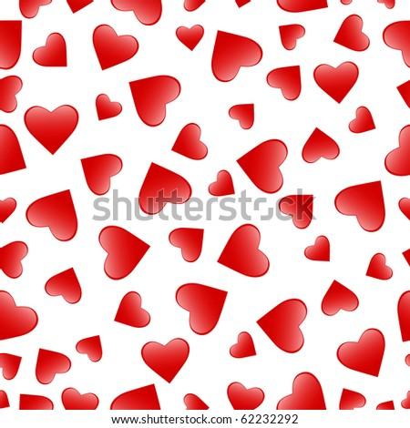 red heart seamless pattern over white