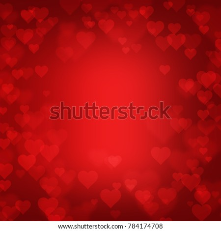 red heart shape abstract bokeh background for Valentine's Day stock photo