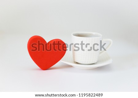 Red Heart Shape beside a cup of coffee - love Coffee concept #1195822489