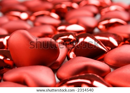Red heart shape decorations for valentines day