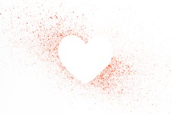 Red heart shape for text isolated on white background