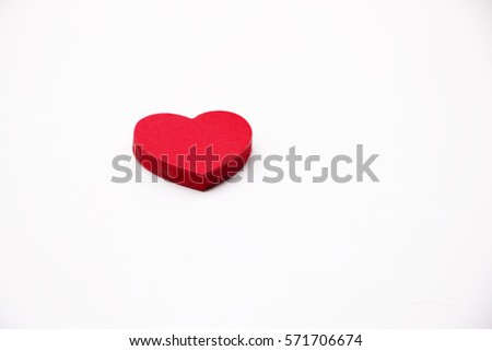 Red heart shape is on white background. #571706674