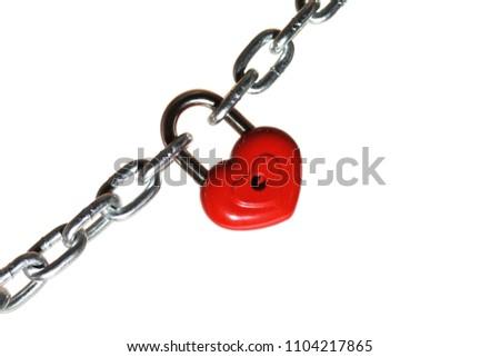 Red heart shape lock and chain. Romantic padlock. #1104217865