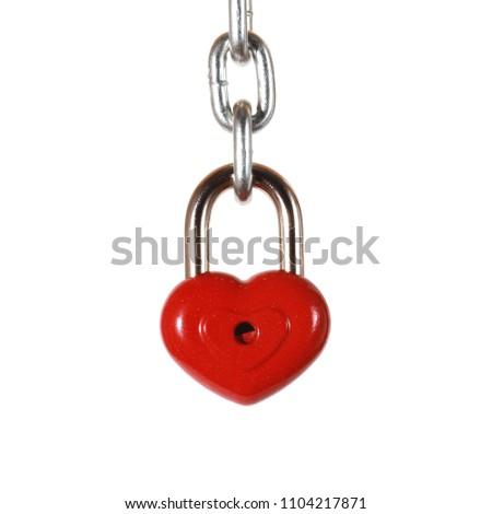 Red heart shape lock and chain. Romantic padlock. #1104217871