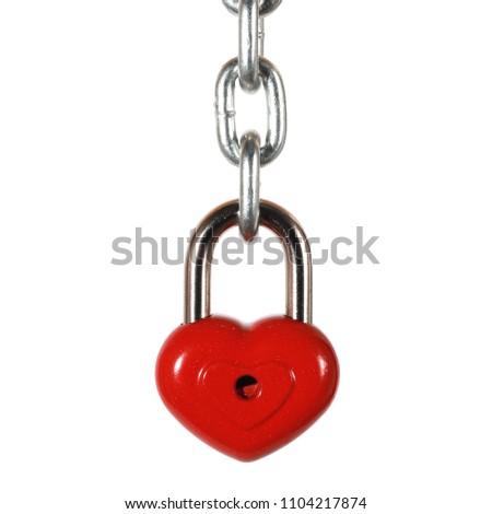 Red heart shape lock and chain. Romantic padlock. #1104217874