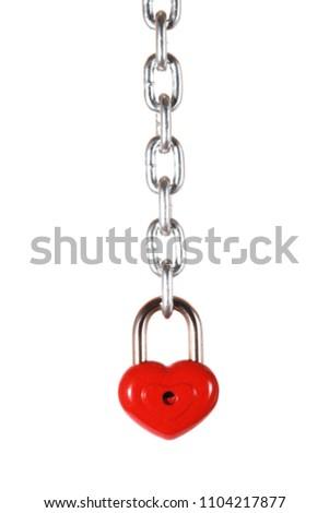 Red heart shape lock and chain. Romantic padlock. #1104217877