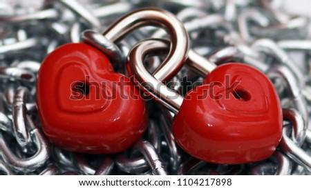 Red heart shape lock and chain. Romantic padlock. #1104217898