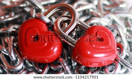 Red heart shape lock and chain. Romantic padlock. #1104217901