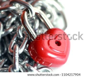 Red heart shape lock and chain. Romantic padlock. #1104217904