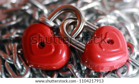 Red heart shape lock and chain. Romantic padlock. #1104217913
