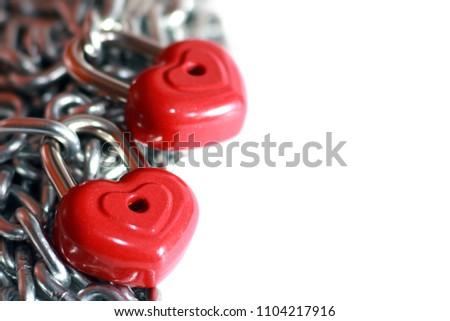 Red heart shape lock and chain. Romantic padlock. #1104217916