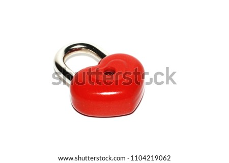 Red heart shape lock. Romantic padlock isolated. #1104219062