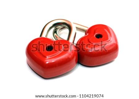 Red heart shape lock. Romantic padlock isolated. #1104219074