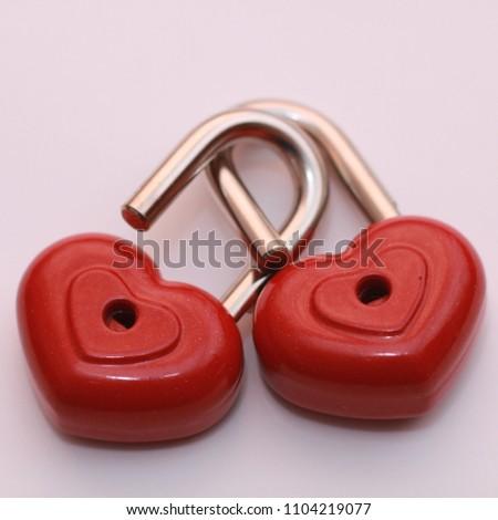 Red heart shape lock. Romantic padlock isolated. #1104219077