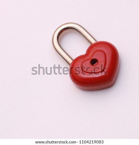 Red heart shape lock. Romantic padlock isolated. #1104219083