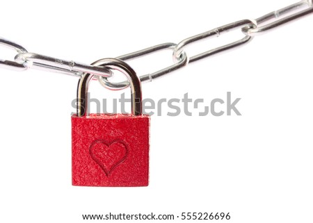 Red heart shape over rustic padlock isolated white background