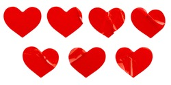red heart shape sticker set isolated on white background