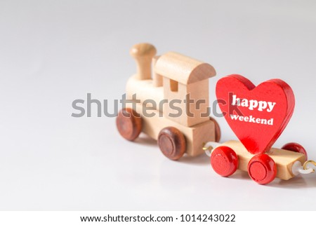 Red Heart Shape with Wooden Toy Train on isolated on white background,Image to Valentine Day concept. #1014243022