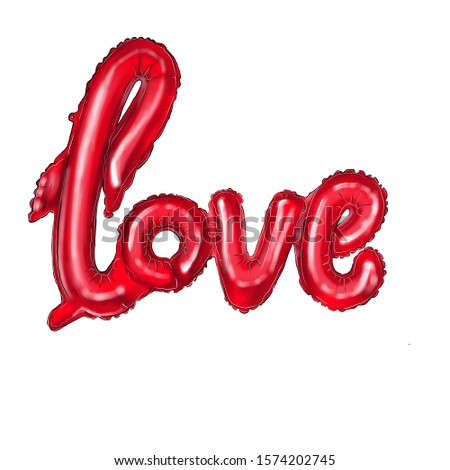 Red heart-shaped balloons and the inscription love balloons. Illustration for Valentine's Day posters, badges, Valentine's Day greeting cards, Valentine's Day prints and web projects.