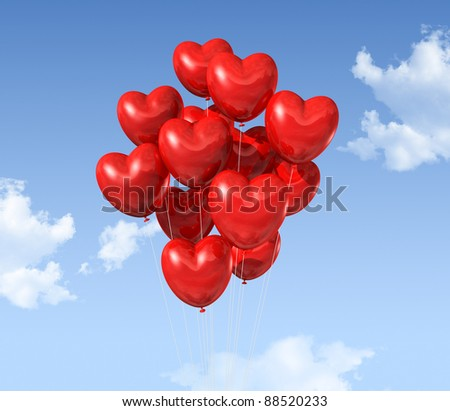 red heart shaped balloons floating in the sky. valentine's day symbol