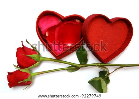 Red Heart Shaped Box and rose.