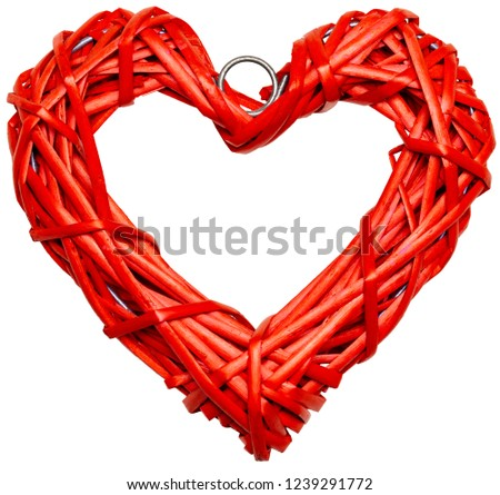 Red heart shaped braided wicker isolated on white background #1239291772