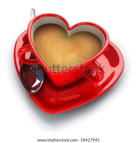 Red Heart Shaped Coffee Cup Stock Photo 18427945