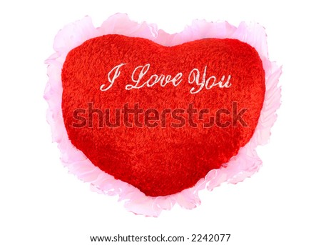 Red heart shaped cushion Valentine concept isolated with clipping path on white background