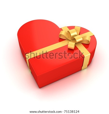 red heart shaped gift box over white background 3d illustration