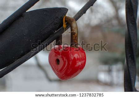 Red heart shaped love lock attached to iron fence #1237832785
