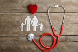 Red heart, stethoscope and paper chain family on wooden table, Health Insurance Concepts