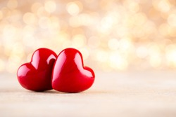 Red heart, valentine day greeting card. Bokeh background.