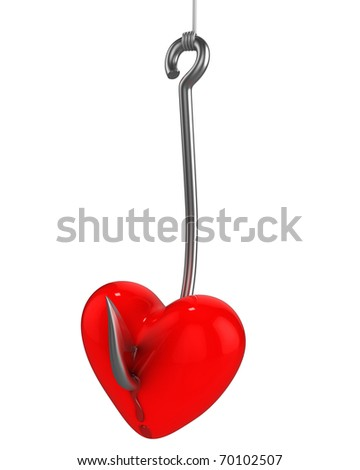 Red heart with a drops of blood on a fishing hook isolated on white background