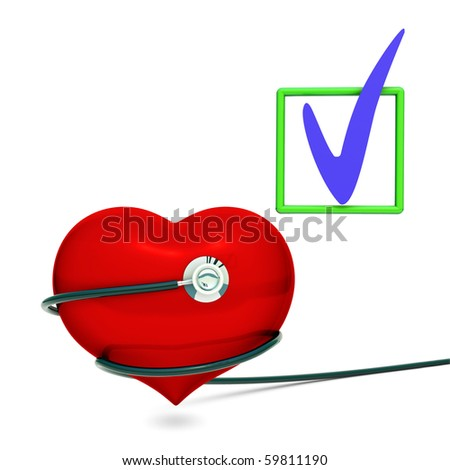 Red heart with black Stethoscope