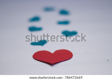 Red heart with blue violet hearts best for background images for valentines day