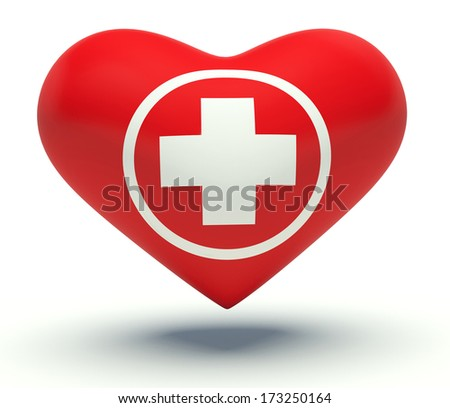 Red heart with first aid medical cross sign. 3d render illustration.