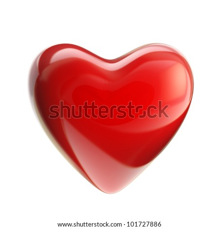 Red heart with glossy reflections isolated on white - stock photo
