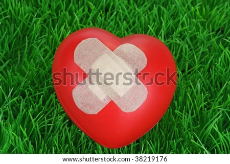 Red heart with plaster on green background