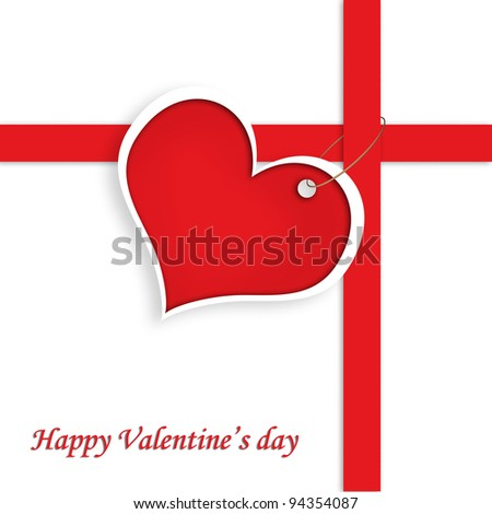 Red Heart With red red line and text Happy Valentine's day, present concept. - stock photo