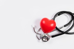 Red heart with stethoscope : medical concept