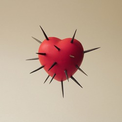 Red heart with thorns all over. Self love concept. Self defense concept. Minimal abstract  composition.