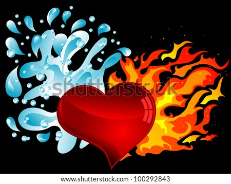 Red heart with water splash and the fire