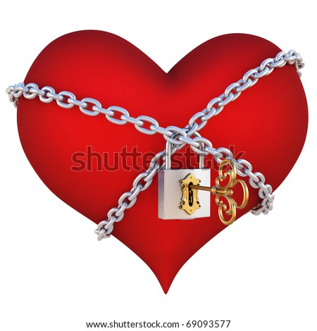 red heart, wrapped a chain padlocked. isolated on white