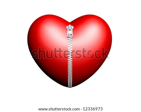 red heart zipped up with zipper